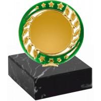 Эмблемоноситель K19 золото-зеленый, h 9 см., вкладыш 50 мм