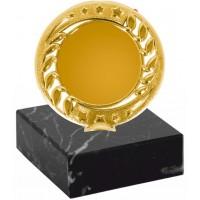 Эмблемоноситель K18 золото, h 9 см., вкладыш 50 мм